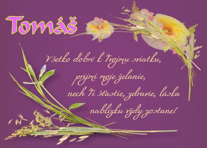 Tomáš Všetko dobre k Tvojmu sviatku, prijmi moje želanie, nech Ti šťastie, zdravie, láska nablízku vždy zostane!