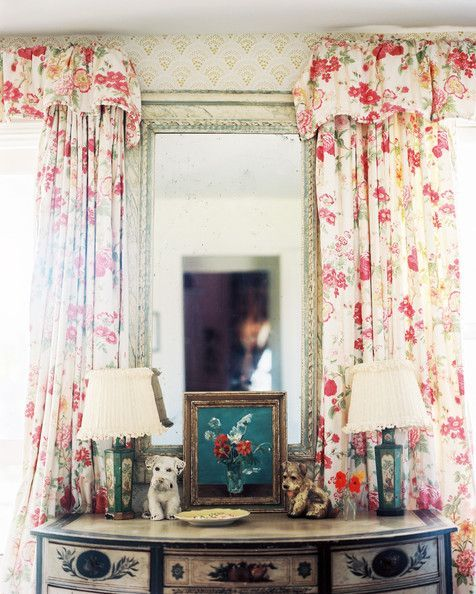 Floral Cottage Style Sister Parish Design Style Cottage Country Farmhouse Style Curtains