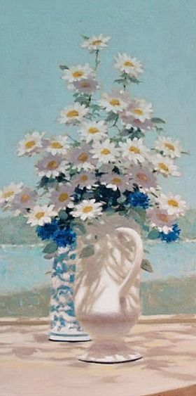 Andre Gisson Still Life with Daisies by the Seashore 20th century