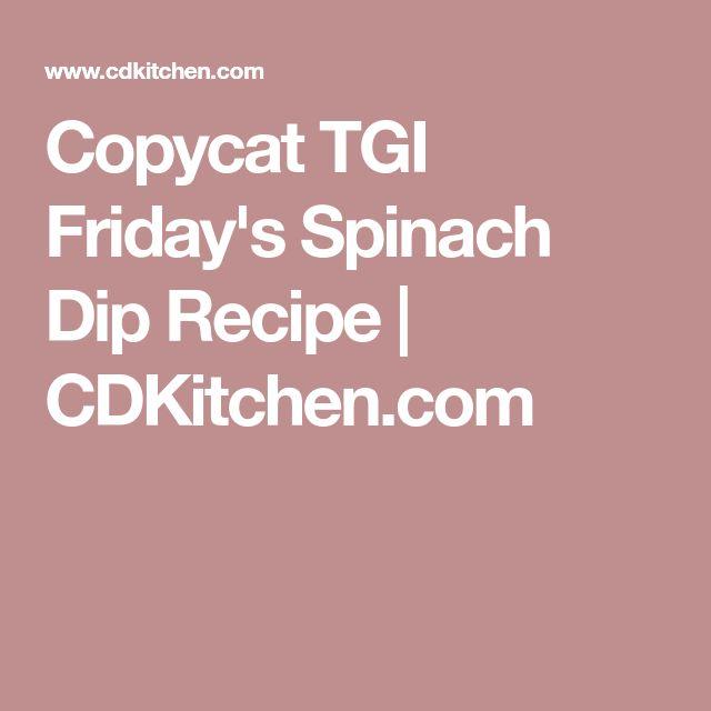 Copycat TGI Friday's Spinach Dip Recipe | CDKitchen.com
