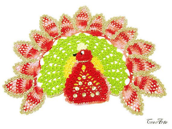 Peacock Crochet Doily Colorful Peacock Centrino by CreArtebyPatty