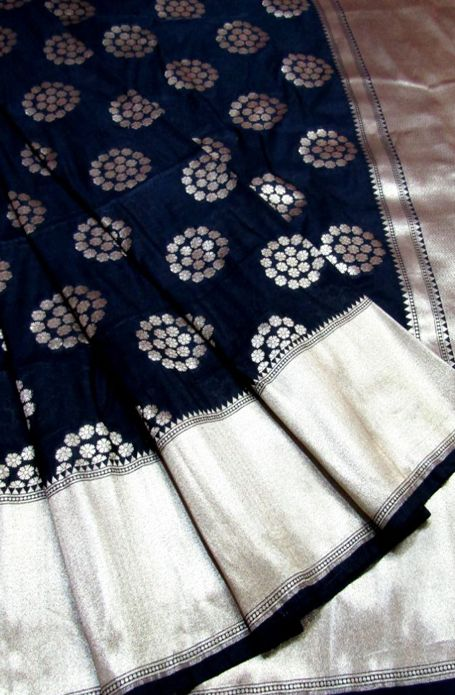 Black Handloom Banarasi Georgette Silk Saree