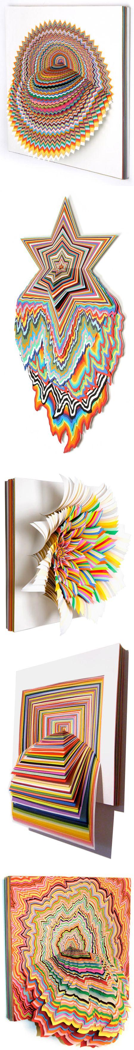 Wowsers: Jen Stark paper art: Stark Paper, Color, Jenstark, Paper Art, Paper Sculpture, Paperart, Cut Paper, A Stark, Book Projects