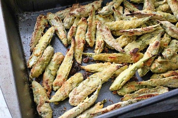 Oven-Fried Okra **Sub almond milk for buttermilk.
