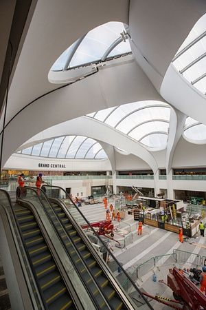 The Birmingham New Street atrium viewed from Grand Central's mezzanine level
