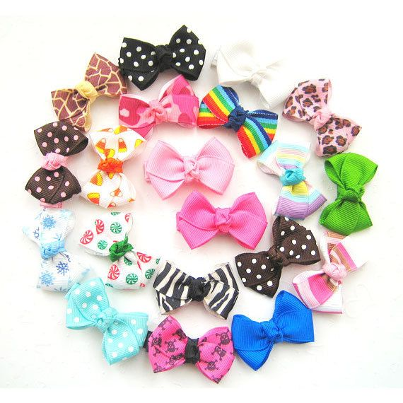 8 Baby Hair bows - Infant Hair Bows - Toddler Hair Bows - Snap or Alligator clips - Choose from over 100 colors and prints, $13.99 Assorted hair bows. Wrapped alligator clips.