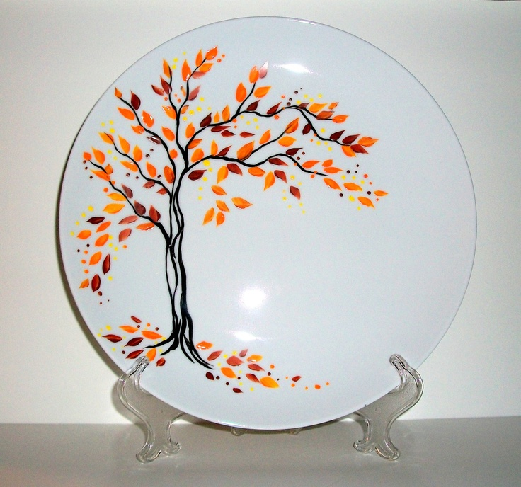Painted Wedding Plate Hand Painted  Fall is in the Air Personalized with your names and date of wedding. $35.00, via Etsy.