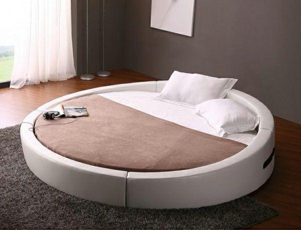 15 runde Betten auf moderner Plattform -