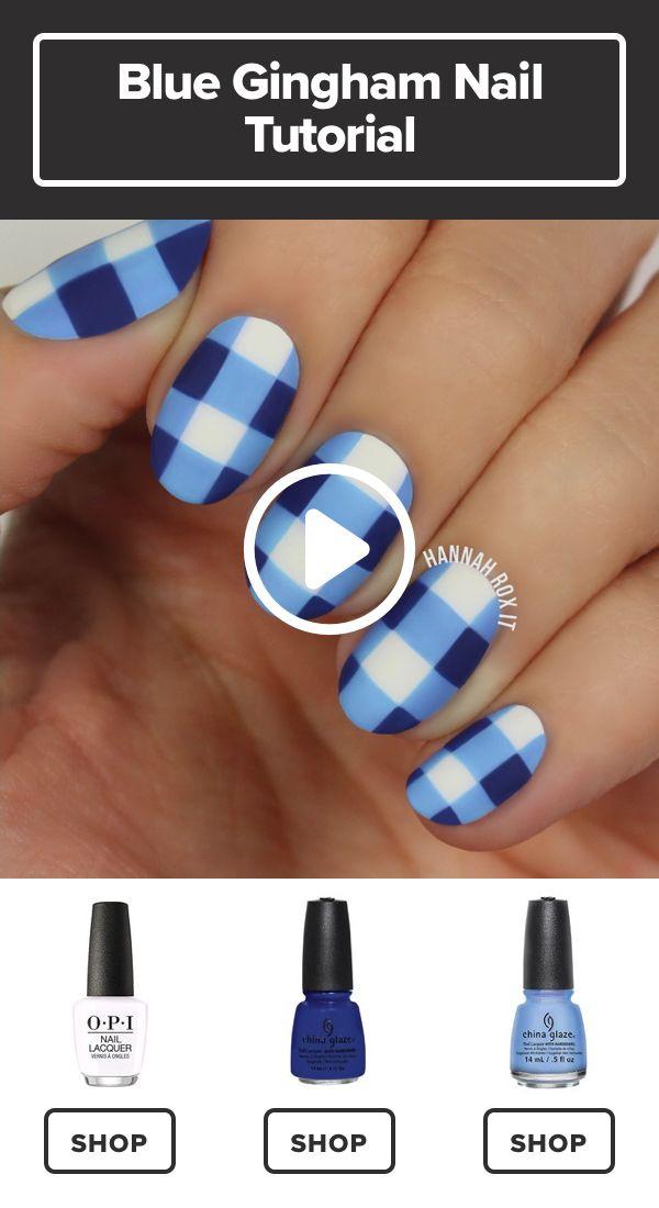 How to Get a Blue Gingham Nail Manicure #darbysmart #beauty #nailpolish #nailart…