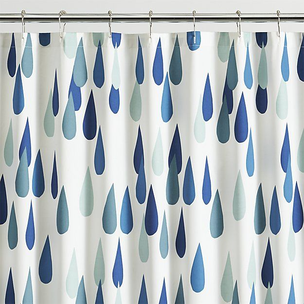 "Shop Marimekko Iso Pisaroi Shower Curtain.  Oversized raindrops (""pisaroi"" in Finnish) rain beautiful shades of green and blue on white in Maija Louekari's delightful design that's casual, clean and timeless."