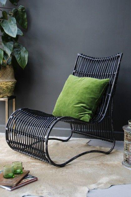 Black Rattan Lounge Chair   Rockett St. George