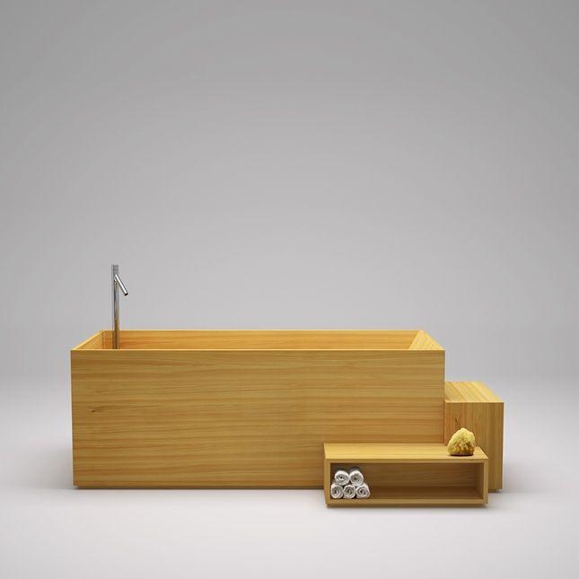Bañera fabricada en madera diseño de Nendo para Bisazza Bagno