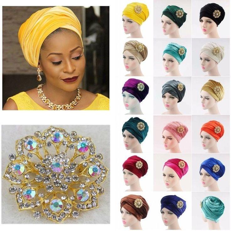 Women Velvet Turban Brooch Extra Wrap Head Tube Scarf India Hijab Long Tail Cap