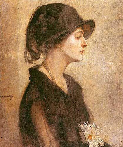 Alfons Karpiński Portret kobiety z astrami, 1933