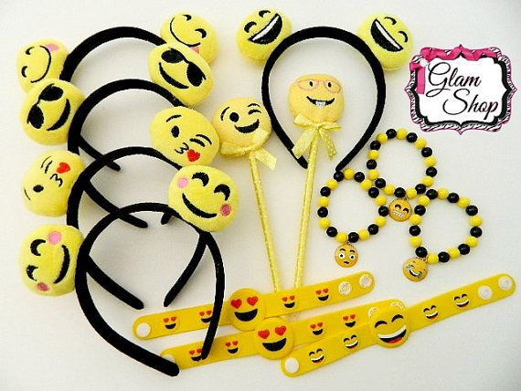 Emoji Party Supplies Birthday Party Favors Pack Set of 13 as pictured. Includes bracelets, headbands and pens!   More Party Favors and Accessories can be found here: https://www.etsy.com/shop/GlamShopBeads?ref=hdr_shop_menu§ion_id=18564376   Do you love Glam Shop Beads? Please mark us as a FAVORITE Etsy shop! Thank you for shopping with us, we appreciate every fan!  You can also find announcements, preview pictures and more on our Fan Page at www.facebook.com/GlamShopBeads   **WARNING…