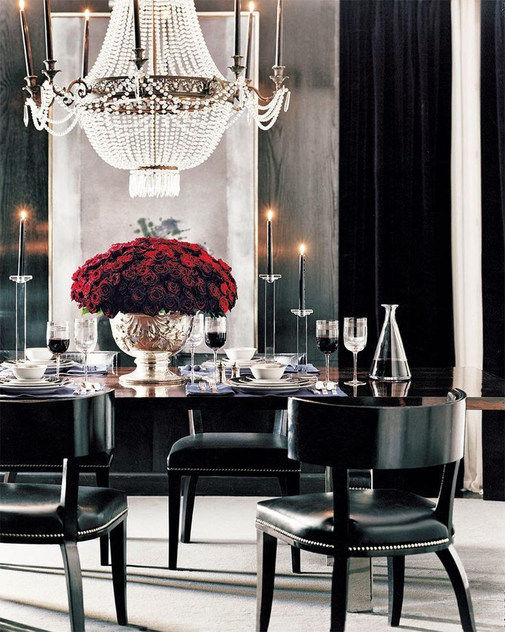 Amazing Dinning Room Mood Board Design Ideas Black Chairs And Crystal Chandelier Photo
