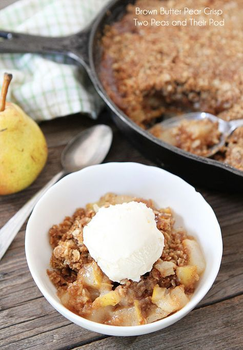 Brown Butter Pear Crisp Recipe on twopeasandtheirpod.com The brown butter makes this crips extra special!