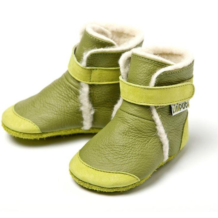 Liliputi® soft soled booties - Himalaya Green #softleatherbabyboots #babyboots #winter