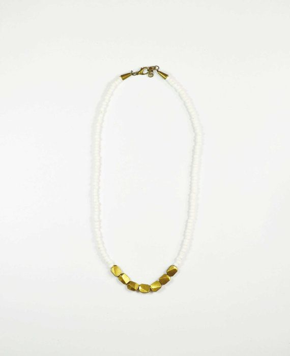 white glass and brass necklace