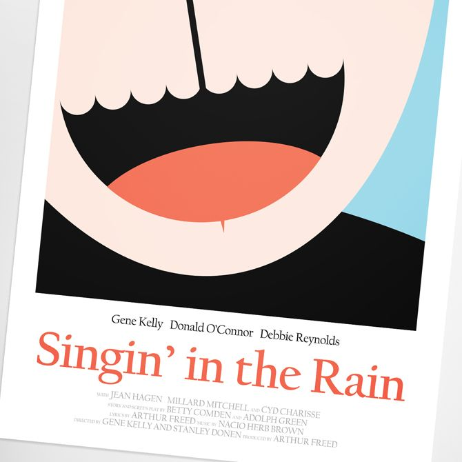 Singin' in the Rain Movie Poster by Graphic Designer Simon C Page