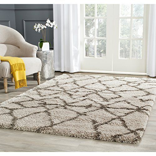 Safavieh Belize Shag Collection SGB482D Taupe And Grey Area Rug 4 Feet By 6