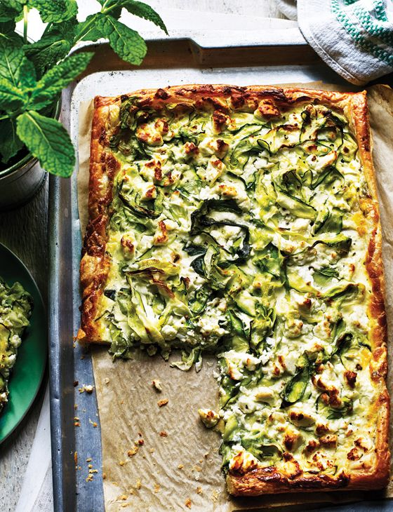 Behold, our summery courgette, feta and mint tart. Have a slice on us