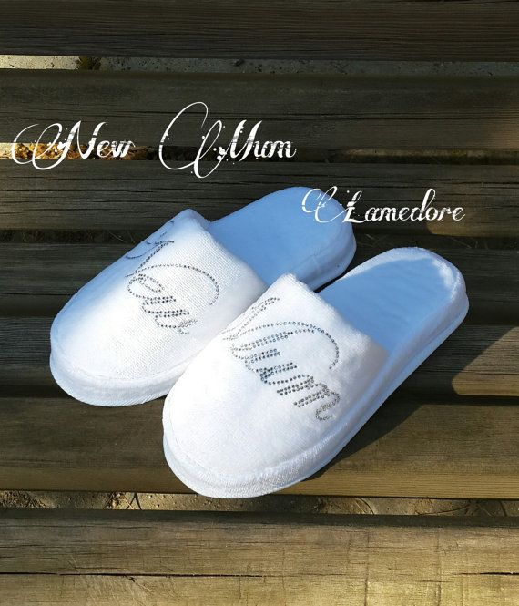 NEW MUM terry velour slippers Baby shower Velour by LAMEDORE