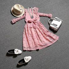 Европейский стиль 2016 А новое платье кружева галстук талии женский темперамент женщин мода кружевные платья Высокое качество Q4269(China (Mainland))