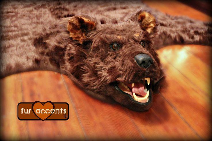 Bear Skin Rug w-Head/ 5' x 6' / Taxidermy Alternative Brown Faux fur  #FURACCENTSllc #ShagFlokati