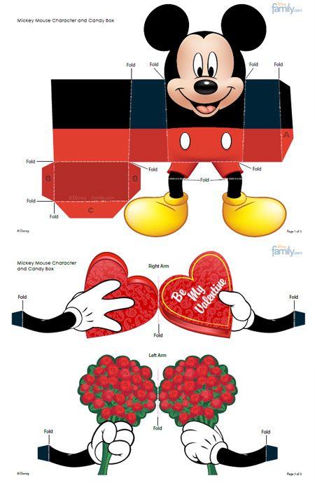 575 mickey paper toy pdf Boîte à cadeau Mickey Mouse pour la St Valentin