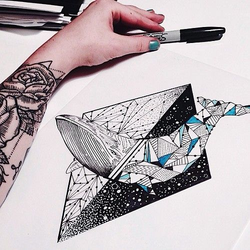 Whale in the stars tattoo geometric