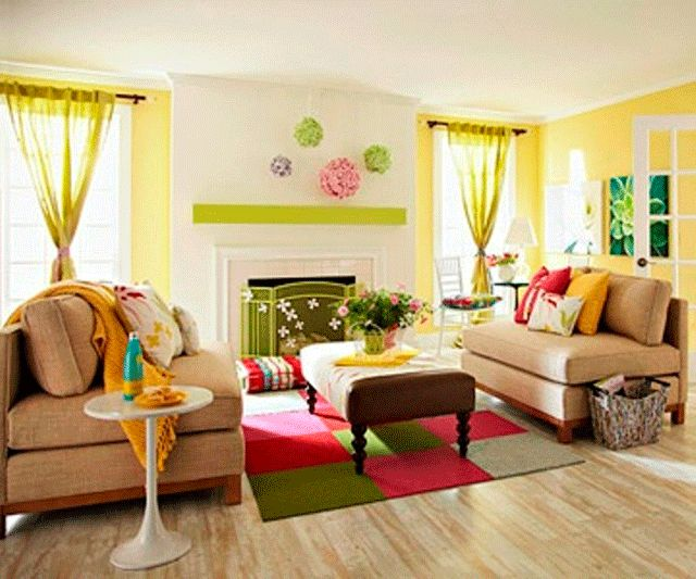 Cute Living Room Paint With Green Curatin And White Fireplace Also Cream  Leather Sofa Decor Idea