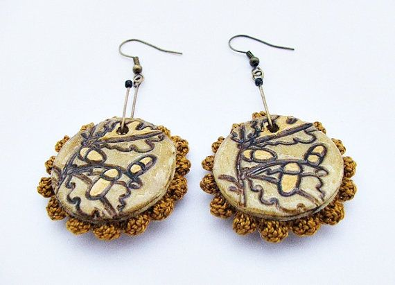 Bilateral acorn earrings with crochet  polymer clay by spikycake, $20.00
