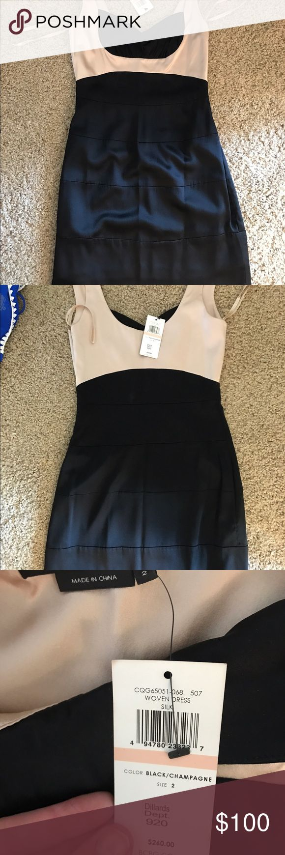 BCBG black and nude bodycon dress Mini dress with tight fit, good for curves.  Size 2, never worn!  Silly material with lining. BCBG Dresses Mini
