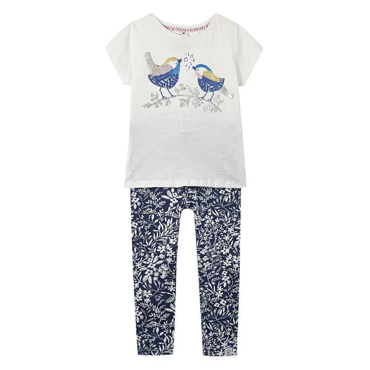 Girl's white sequinned bird t-shirt and leggings set - Kids - Debenhams.com