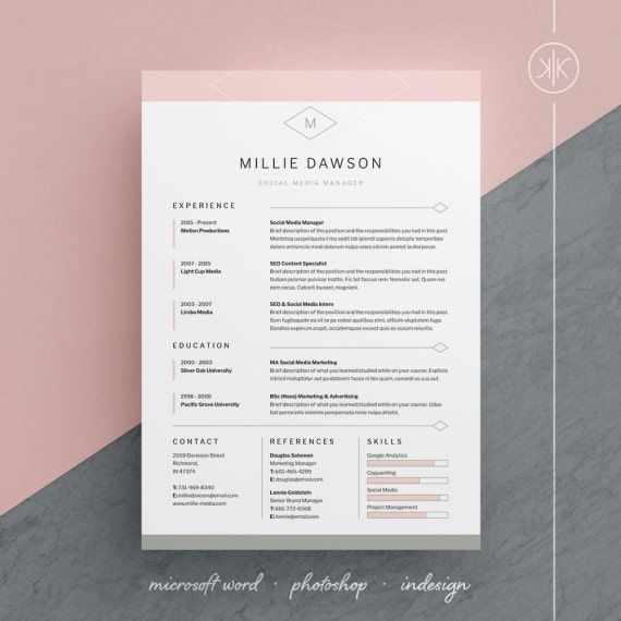 Millie Resume Cv Template Word Photoshop Indesign Professional Resume Design Cover Letter Instant Download Cv Template Word Resume Design Template Resume Template Free