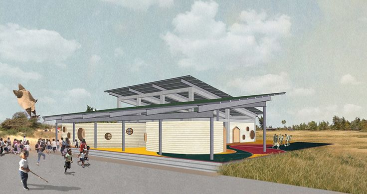 the proposal -- planned for tipitapa, nicaragua -- is a double-sided concept that involves not only learning within the building, but from it as well.