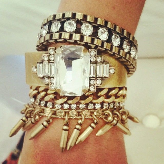 Stack of the Day! #Shop now at etyandelle.com  #Brass #Crystal #cuff #Fringe #chain #stackfotheday