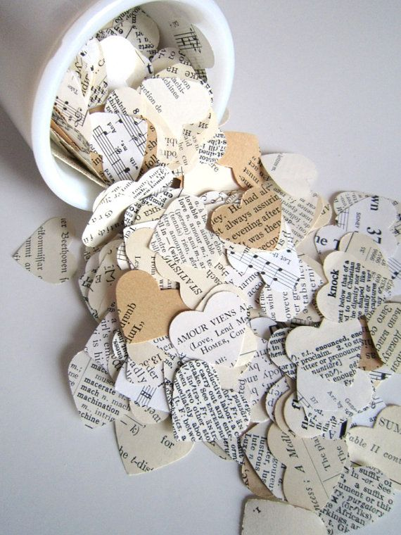 Romantic Heart Confetti / vintage wedding decor. paper hearts old book pages