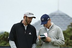 Dustin Johnson and Jordan Spieth, shown at the 2015 British Open