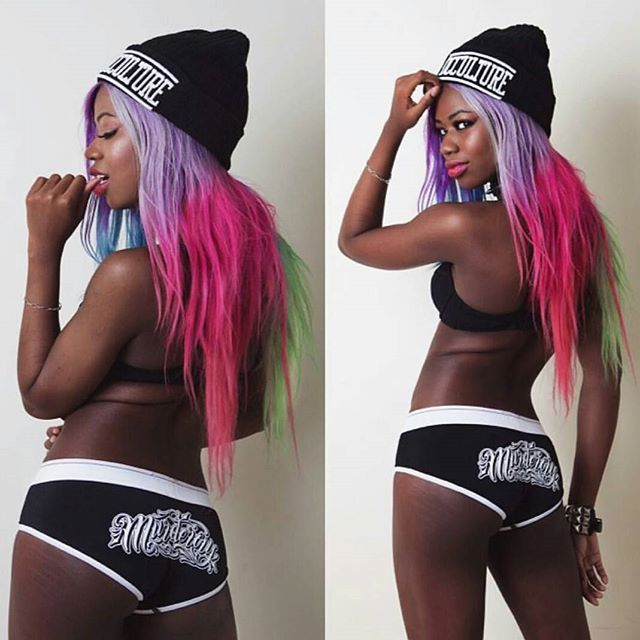 "@thehotcocoa wearing our ""Murderous"" Women's Underwear & ""Occulture"" Beanie - available at www.crmc-clothing.co.uk | WE SHIP WORLDWIDE #vixen #raindowhair #pastelhair #alternative #pastelgoth #fashionstatement #pastelgothgirl #hairenvy #fashionista #pastelgothic #rainbow #alternativeblackgirl #blackmodel #blackgirlsrock #beautifulblackwomen #cute #instacute #beautiful #dailyfashion #styles #style #alternativegirl #alternativeteen #alternativeboy #instagrammers #instalike #instalove #igers…"