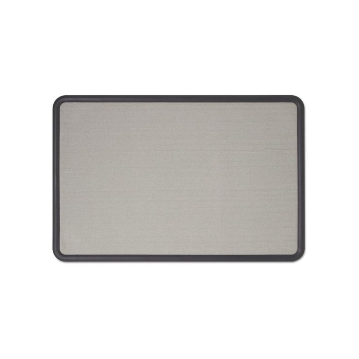 Quartet 36 x 24 Contour Fabric Bulletin Board- Gray (Plastic Graphite Frame)
