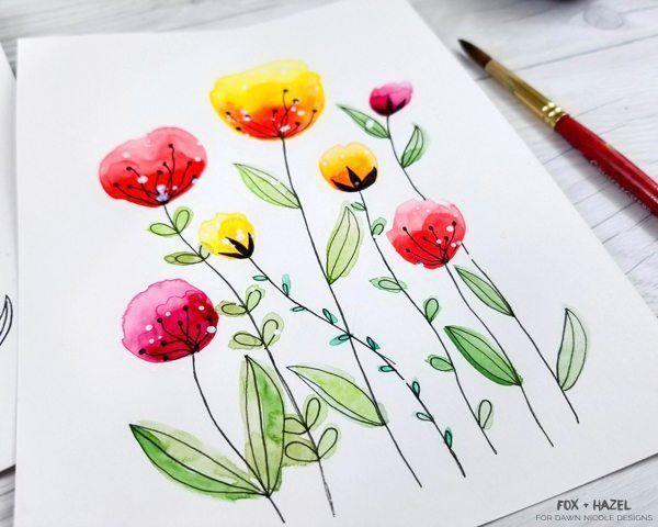 Easy Watercolor Flowers Schritt für Schritt Anleitung – #ados #Easy #flowers #S … …