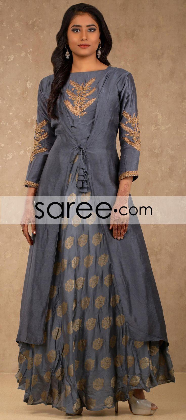 Dark Grey Cotton Silk Jacket Style Kurti