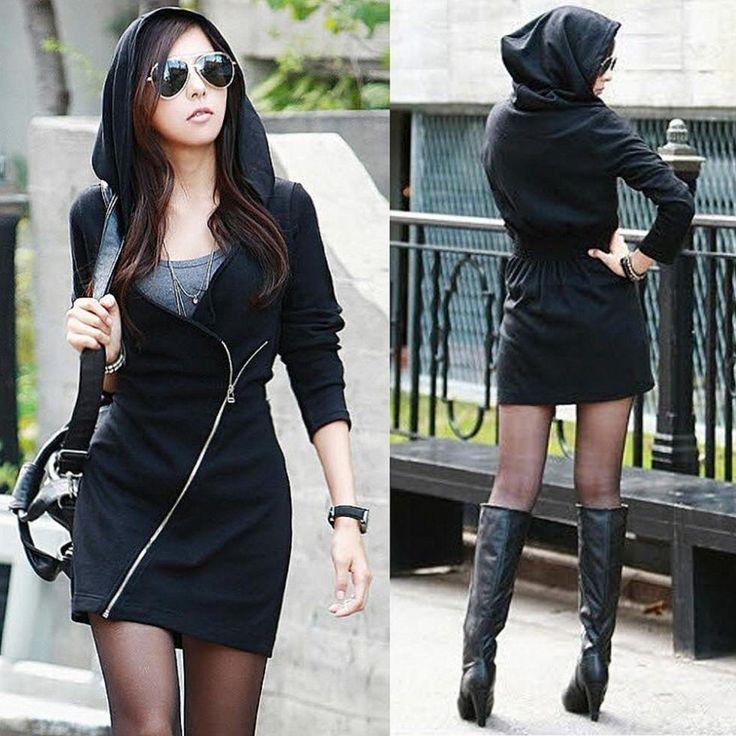 vrouwen zwarte kap lange mouw slanke kantoor top mini jurk rits sexy sweatshirt $14.53 (free shipping)