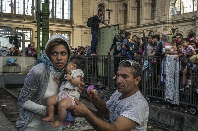 ヨーロッパ移民問題の現状 > ドイツ行きの列車に乗るためにブダペスト東駅に集まった移民たち。ヨーロッパ移民危機の中心地となっているこの駅は、ハンガリーからドイツへ向かく移民が溢れているため一時的に営業中止に追い込まれています。2015年9月1日、ハンガリー・ブダペスト。