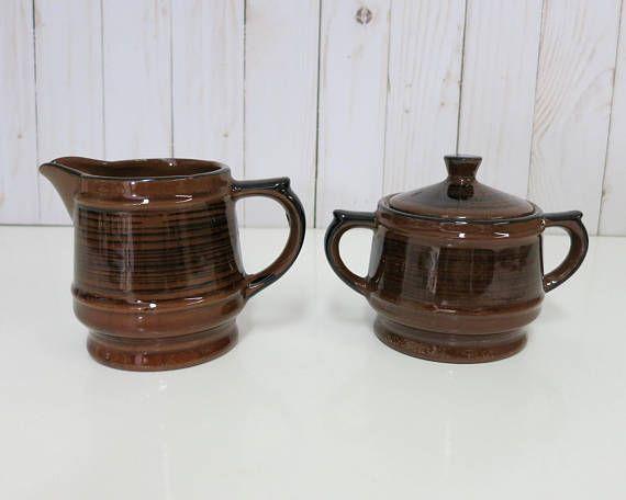 Vintage Sugar Bowl and Creamer, Vintage Brown Sugar Bowl and Creamer, Brown and Black Sugar Bowl and Creamer -V288