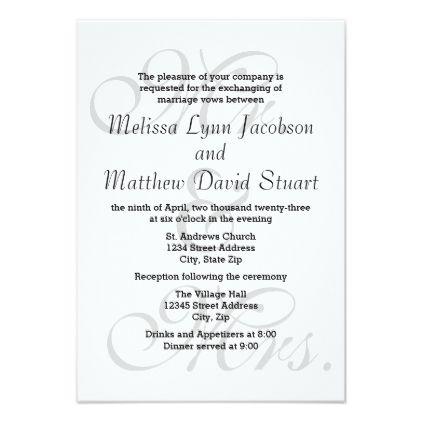 Mr. & Mrs. - 3x5 Wedding & Reception Invitation - wedding invitations diy cyo special idea personalize card