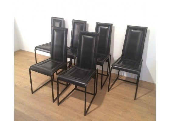 Black Leather Dining Chairs, Set of 6 for sale at Pamono