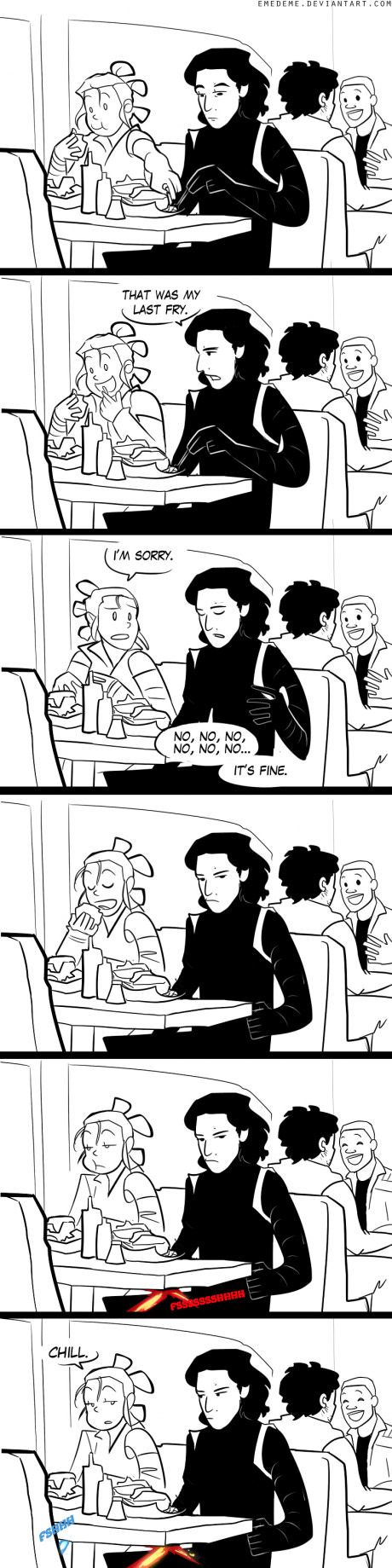 Kylo Ren and Ray date. I just realized that was Finn and Poe in the background! Long live the bromance!!